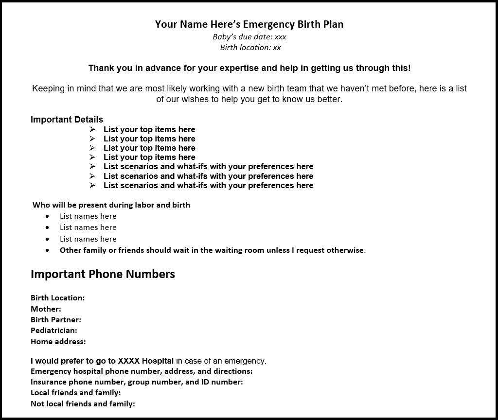 Emergency birth plan example